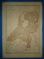 Vintage Circa 1876 HOLLAND MAP Early Old Antique Original Atlas Map