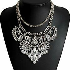 Statement Necklace Vintage Silver Goldtone Rhinestone Bohemian 60050-2 US Seller