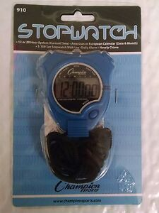 Champion Sports Running Walking Stop Watch-Stopwatch-Alarm -Blue