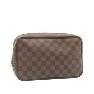 LOUIS VUITTON Damier Ebene Trousse Toilette Clutch Bag N47623 LV Auth 25544