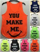 Women Ladies You Make Me Printed Sleeveless Vest Gym Shirt Casual Crew Neck Top