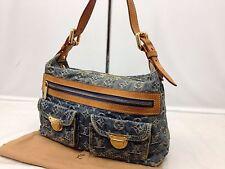 Authentic Louis Vuitton Monogram Denim Baggy PM Shoulder Bag M95049 6i270300m