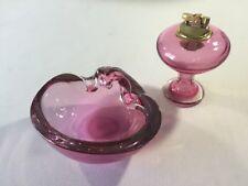 Mid Century Ashtray Lighter Pink Glass Vintage 2 pc Set
