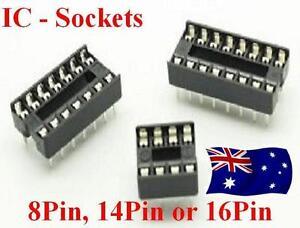 8Pin, 14Pin, 16Pin & 18Pin DIP IC Socket Solder DIP Pitch Dual Wipe x 10Pcs