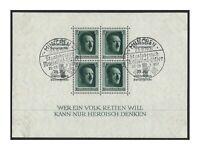Germany 1937 Hitler Birthday Stamp Mini Sheet Michel BLK9 (Scott B104) CTO (7-4)