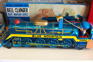 VINTAGE BELL CLANGER BLUE MOUNTAIN EXPRESS MASUDAYA OF JAPAN PRE1970 TIN TRAIN