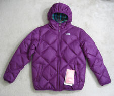 NWT NORTH FACE Girls Moondoggy Reversible 550 Down Hooded Jacket SZ XL/18 Purple