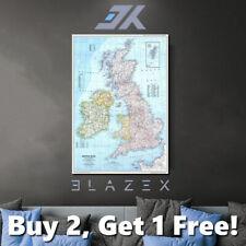 Map British Isles and Ireland (UK) Poster Print wall A4, A3, A2 Satin 260gsm