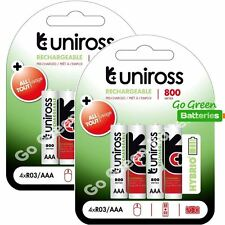 8 x Uniross HYBRIO AAA 800 mAh Rechargeable Batteries, Pre Charged NiMH HR03