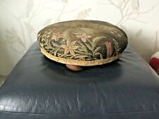 Vintage Round Upholstered Footstool