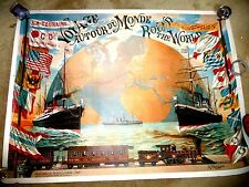 LOVELY GIANT POSTER TRAVEL AROUND THE WORLD SHIPS TRAIN COMPAGINIE PACIFIC MAIL