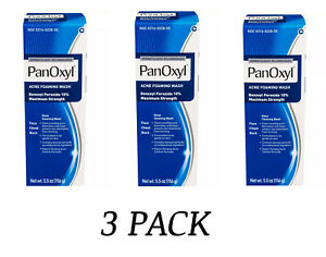 (3 PACK) Panoxyl Benzoyl Peroxide Foaming Acne Wash 10% 5.5oz - New