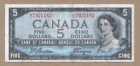 1954 $5 Bank of Canada Note Beattie Coyne V/C 7921182 - VF