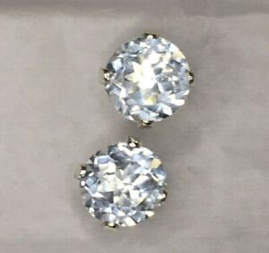 White TOPAZ Earrings Sterling Silver 4 Prong Setting 6mm matched stones APRIL