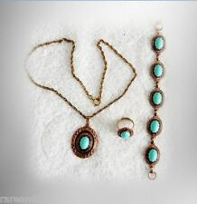 Jewelry set - necklace, bracelet and ring with 12k gold filled shaft