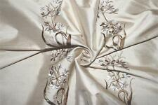 "Embroidered Silk Dupioni ~ Bouquet Collection ~ Bisque - 54"" wide"