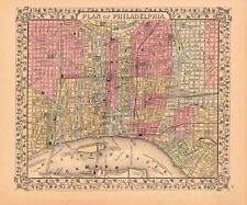 VINTAGE MAP - Plan of Philadelphia, 1867 by Ward Maps Art Print Poster 19.5x23