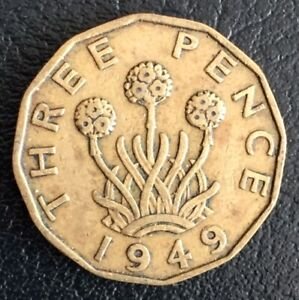 UK George VI 3d Three Pence Coin 1949 Rare Date