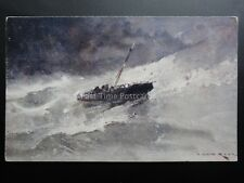 THE FOAMING SEA shows Boat in Storm c1911 Art by Van Hier, by Davidson Bros 7031