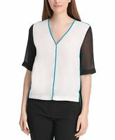 DKNY Women's Blouse White Ivory Size Medium M Colorblock Sheer Piped $69- #324