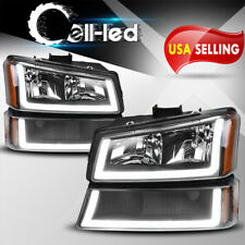 4PCS BLACK HEADLIGHTS FOR 2003-2006 CHEVY SILVERADO SIDE HEADLAMPS W/LED DRL US
