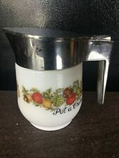 Gemco Corning Ware Spice of Life Corelle MILK GLASS Pitcher Syrup POT A CREME