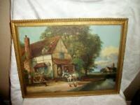 1930s ENGLISH PUB SCENE PRINT FRAMED WALL ART CHURCH GOLD WOOD FRAME VINTAGE