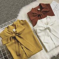 Chemise à manches plissée unie en mousseline de soie