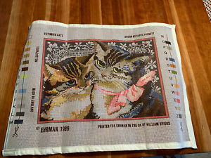 Ehrman Victorian Cat Tapestry Needlepoint Panel England New in Package
