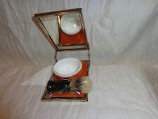 Vintage Antique Old Folding Metal Shaving Mirror Kit  Soap Dish Brush Orange