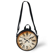 Retro Clock Watch Womens Shoulder Bag Novelty Round Handbag Purse Kids Backpack