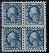 US #378 5¢ blue, Block of 4, og, 2NH/2LH VF, Scott $195.00