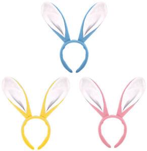 Bunny Ear Headband 3 Colours - Rabbit Costume Fancy Dress Easter
