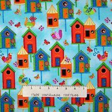 Spring Garden Fabric - Flight of Fancy Birdhouse Sky Blue - Studio E YARD