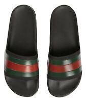 GUCCI ciabatte sandalo in gomma con nastro WEB 429469 GIB10 1098 nero
