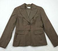 Ann Taylor LOFT Womens Size 4 Button Down Blazer Jacket, Striped Brown Wool