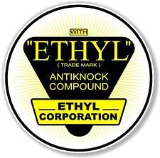 """(ETHYL-2) 6"""" 1941-60s ETHYL GASOLINE DECAL OIL CAN / GAS PUMP"""