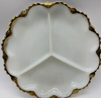 Vintage Fire King Anchor Hocking White Milk Glass Divided Dish Gold Trim
