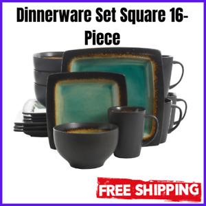 Dinnerware Set Square 16-Piece Stoneware Turquoise Plates Bowls Mugs Dishes