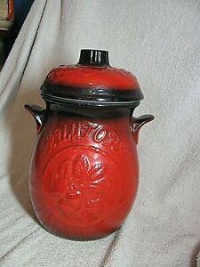 VINTAGE RED  RUMTOFT JAR / BARREL