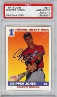 Super Rare 1991 Score #671 Chipper Jones Autograph Rookie RC Card PSA / DNA 10 !
