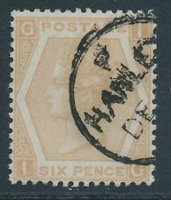 SG 123 6d Pale buff plate 12 fine used with a Hanley CAT £350
