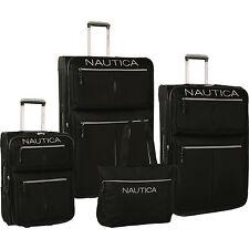 NAUTICA MARITIME II BLACK SILVER EXPANDABLE 4 PIECE LUGGAGE SET $880 VALUE