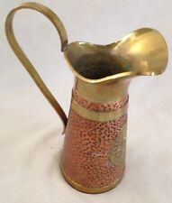 "Metal 4X9"" Copper Pitcher with Brass Hardware"