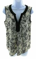 naif Womens Brown and Black Floral Sleeveless V Neck Top Casual Size Small