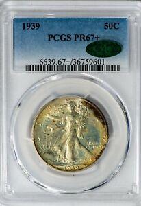 1939 50C Walking Liberty PCGS PR67+ CAC Silver Half Dollar Proof, Superb Gem+!