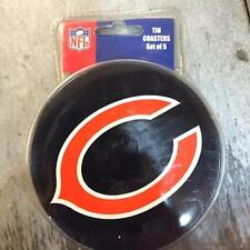 CHICAGO BEARS set of 5 NFL tin coasters & holder