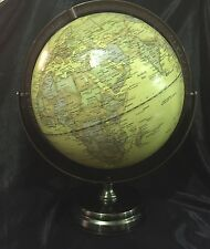 Antique Embossed World Ocean Globe 30cm  Gimbal Copper Metal  Arm & Base New
