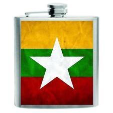Burma Flag Stainless Steel Hip Flask 6oz