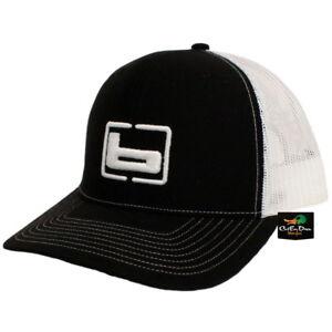 "NEW BANDED TRUCKER CAP MESH BACK HAT BLACK AND WHITE W/ ""b"" LOGO"